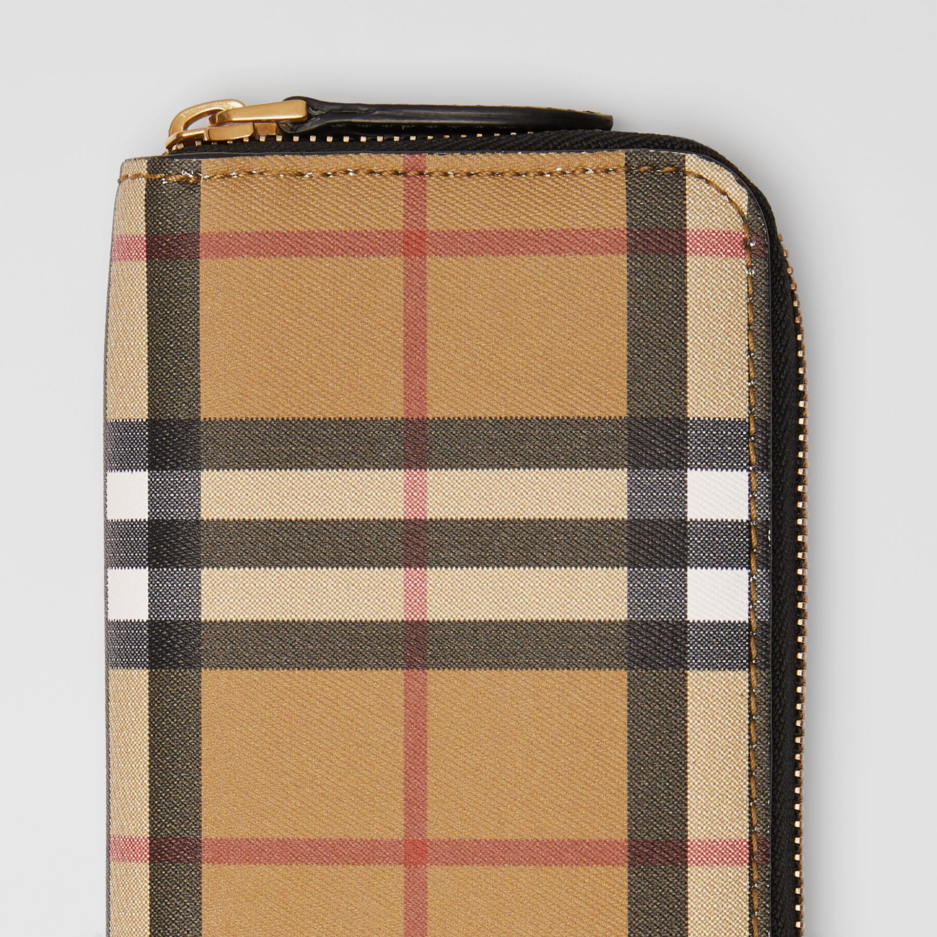 Vintage Check and Leather Ziparound Wallet in Black - Women | Burberry Canada - gallery image 1
