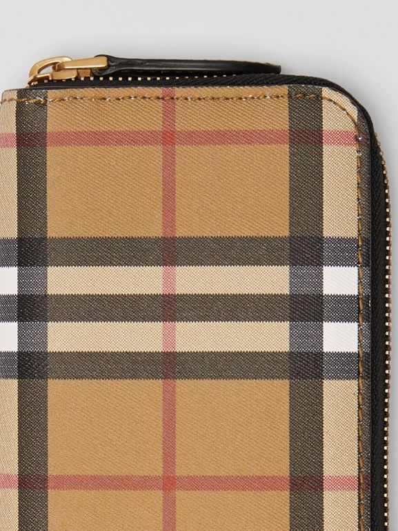 Vintage Check and Leather Ziparound Wallet in Black - Women | Burberry - cell image 1