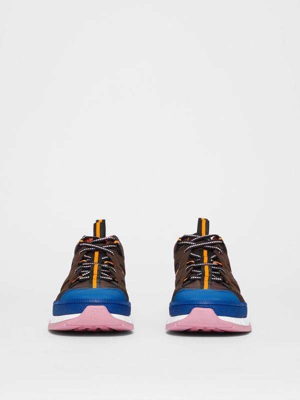 Nylon and Mesh Union Sneakers in Coffee/blue - Men | Burberry United States - cell image 3