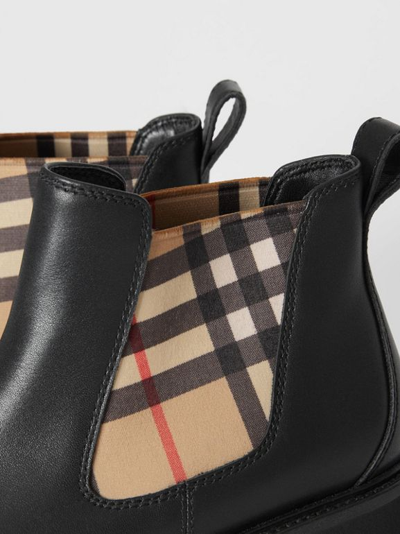 Vintage Check and Leather Chelsea Boots in Black - Children | Burberry - cell image 1