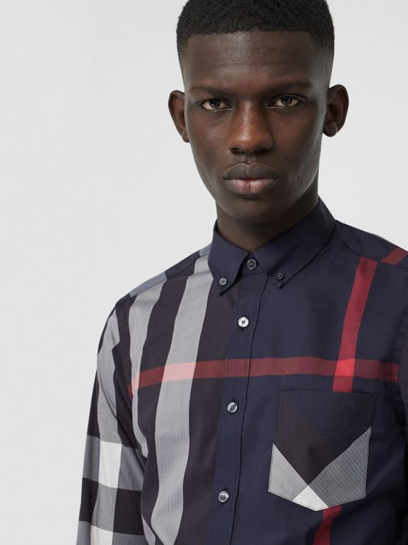 Button-down Collar Check Stretch Cotton Blend Shirt in Navy - Men | Burberry - cell image 1
