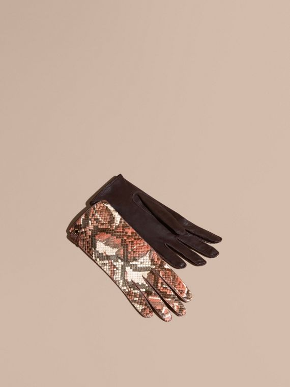 Floral Print Python and Leather Gloves Pink/burgundy Red
