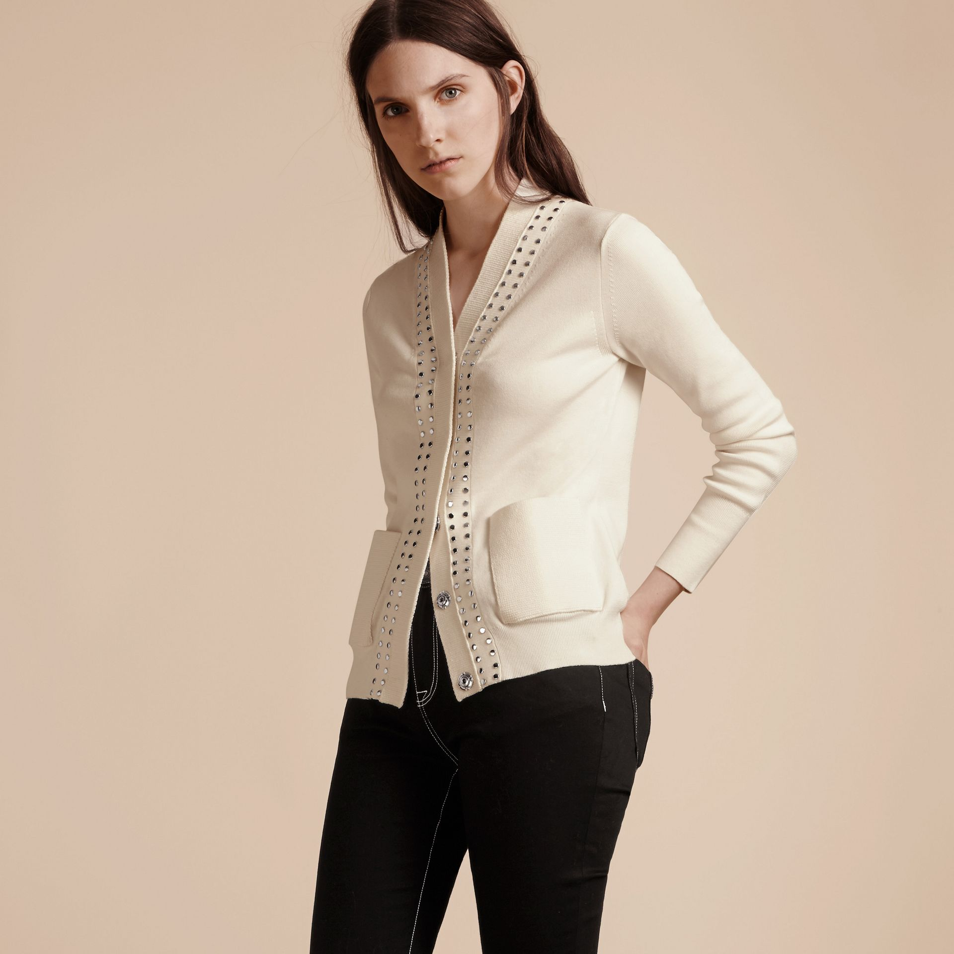 Natural white Cotton V-neck Cardigan with Studs - gallery image 7