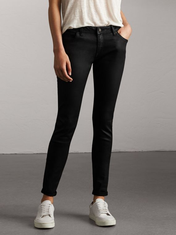 Skinny Fit Low-rise Wax Coated Jeans in Black