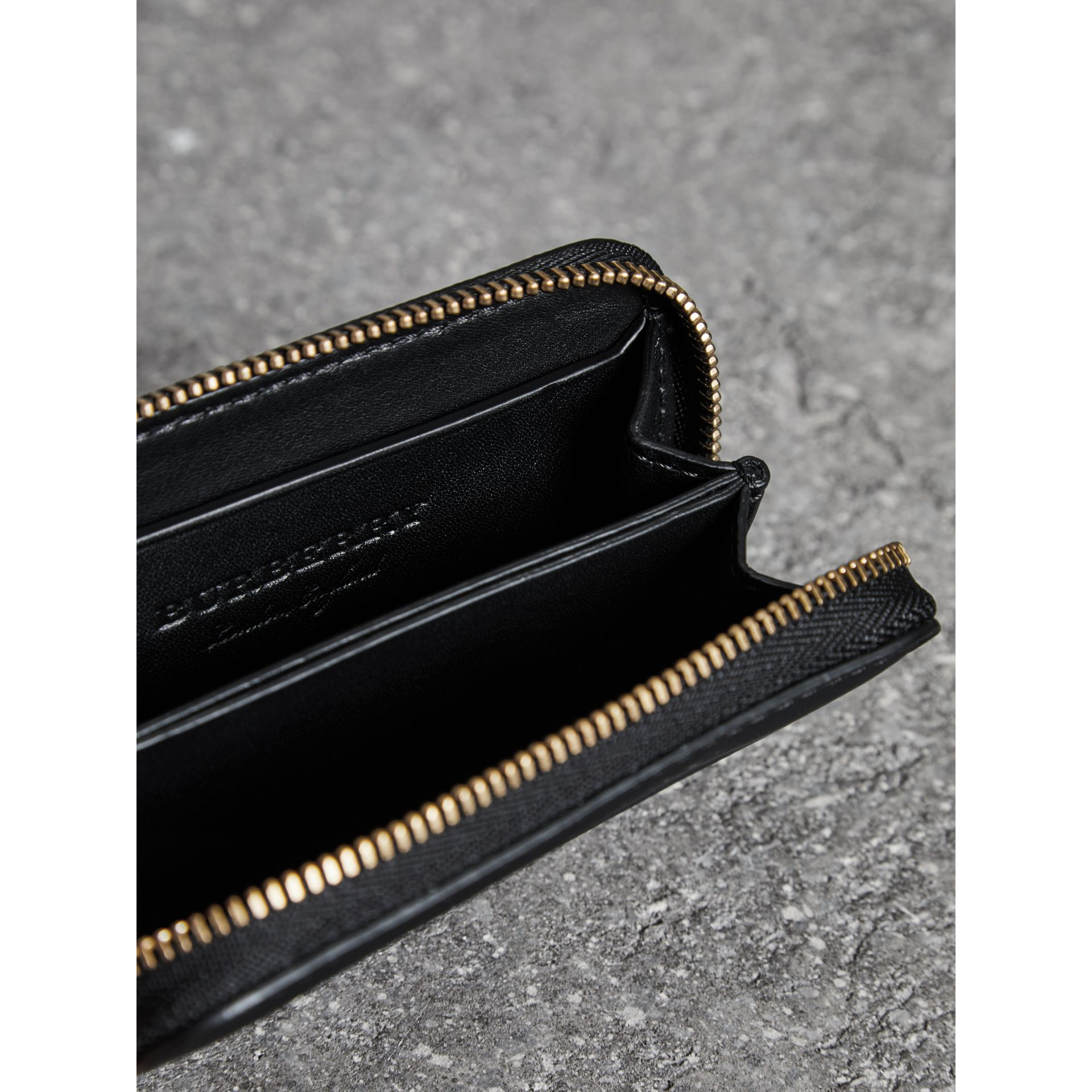 Trench Leather Ziparound Coin Case in Black - Men | Burberry United Kingdom - gallery image 3