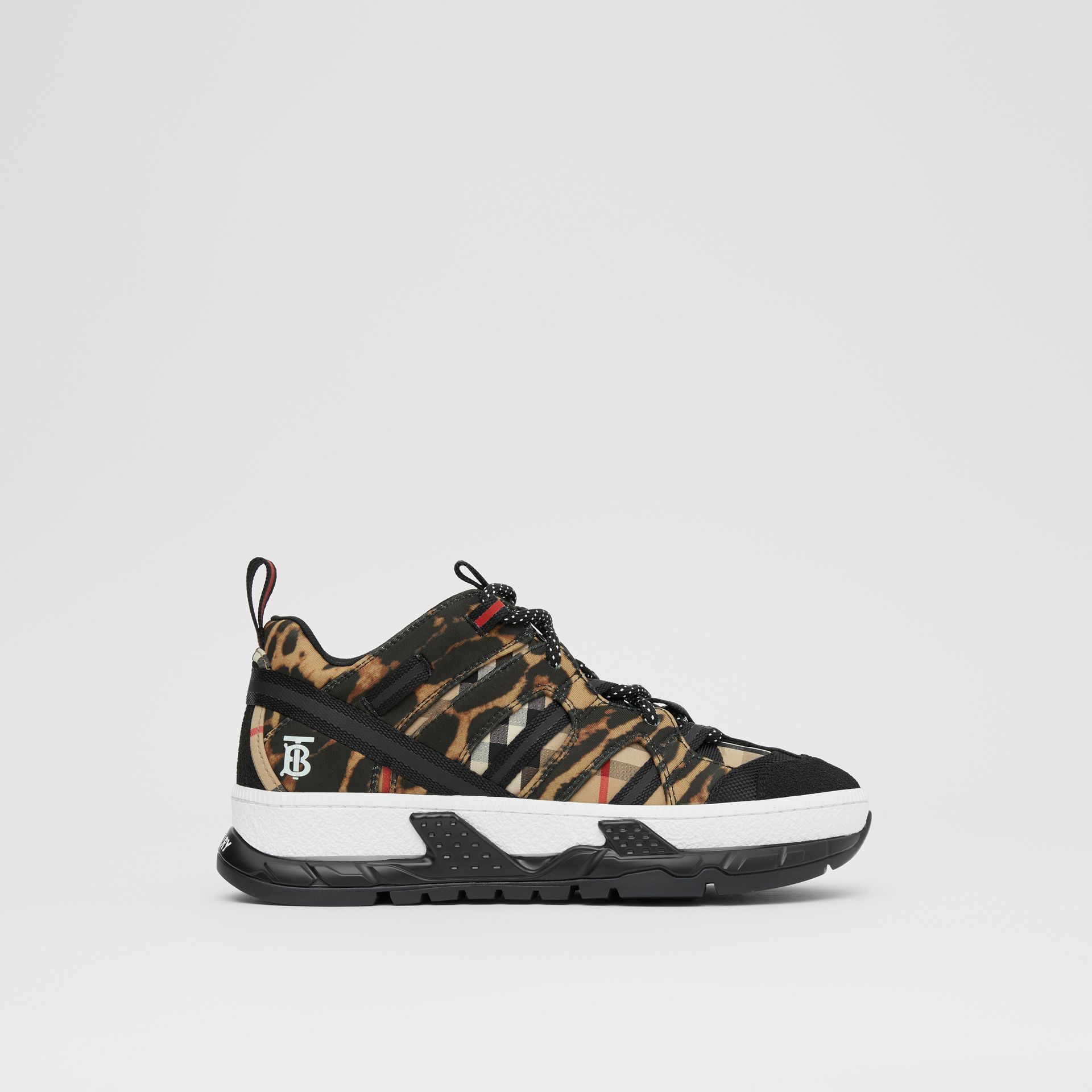 Leopard Print Neoprene and Cotton Union Sneakers in Archive Beige - Women | Burberry United States - gallery image 4