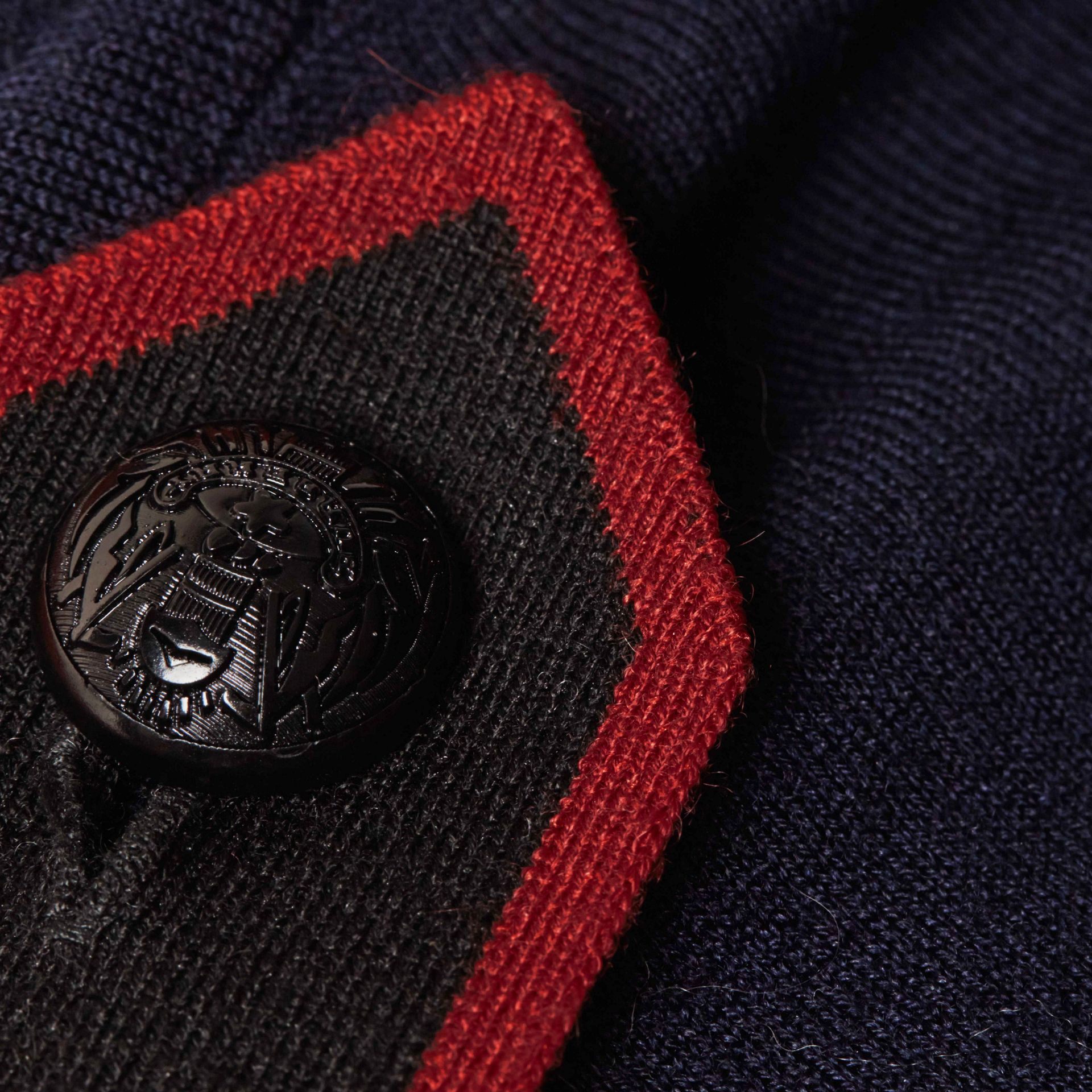 Navy/red Epaulette Detail Wool Polo Shirt - gallery image 2