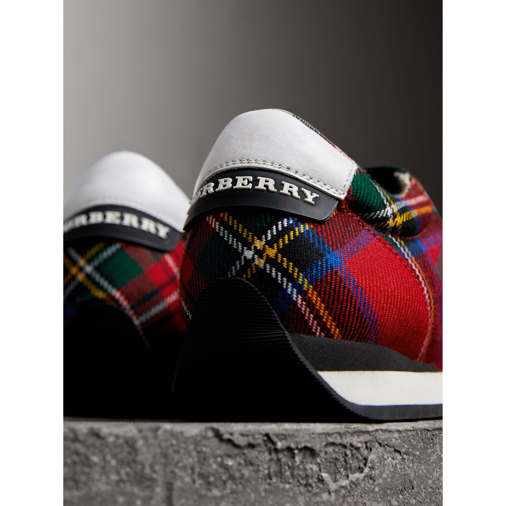 Tartan Wool Sneakers in Bright Red - Women | Burberry Australia - gallery image 1