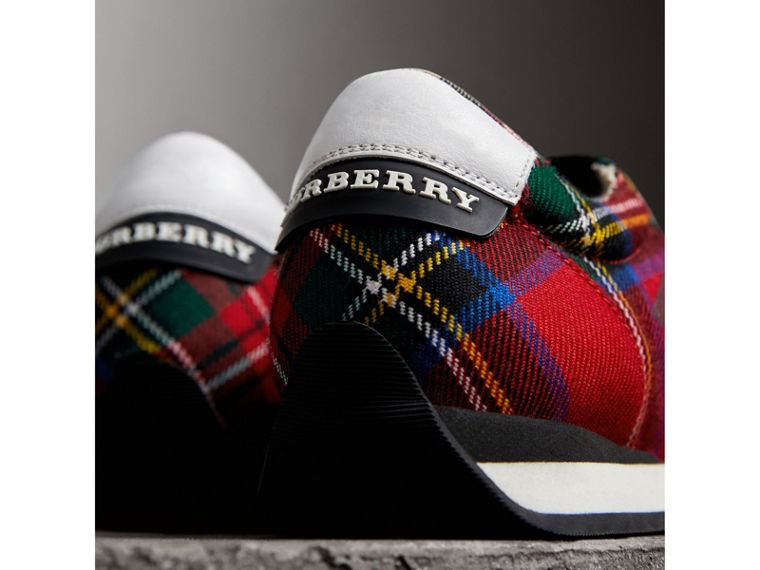 Tartan Wool Trainers in Bright Red - Women | Burberry - cell image 1