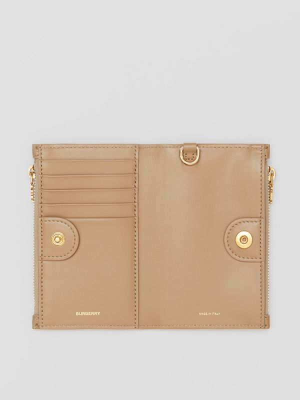 Monogram Motif Grainy Leather Wallet with Detachable Strap in Archive Beige - Women | Burberry - cell image 3
