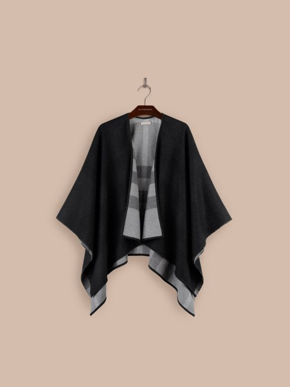 Reversible Check Merino Wool Poncho in Charcoal - cell image 2