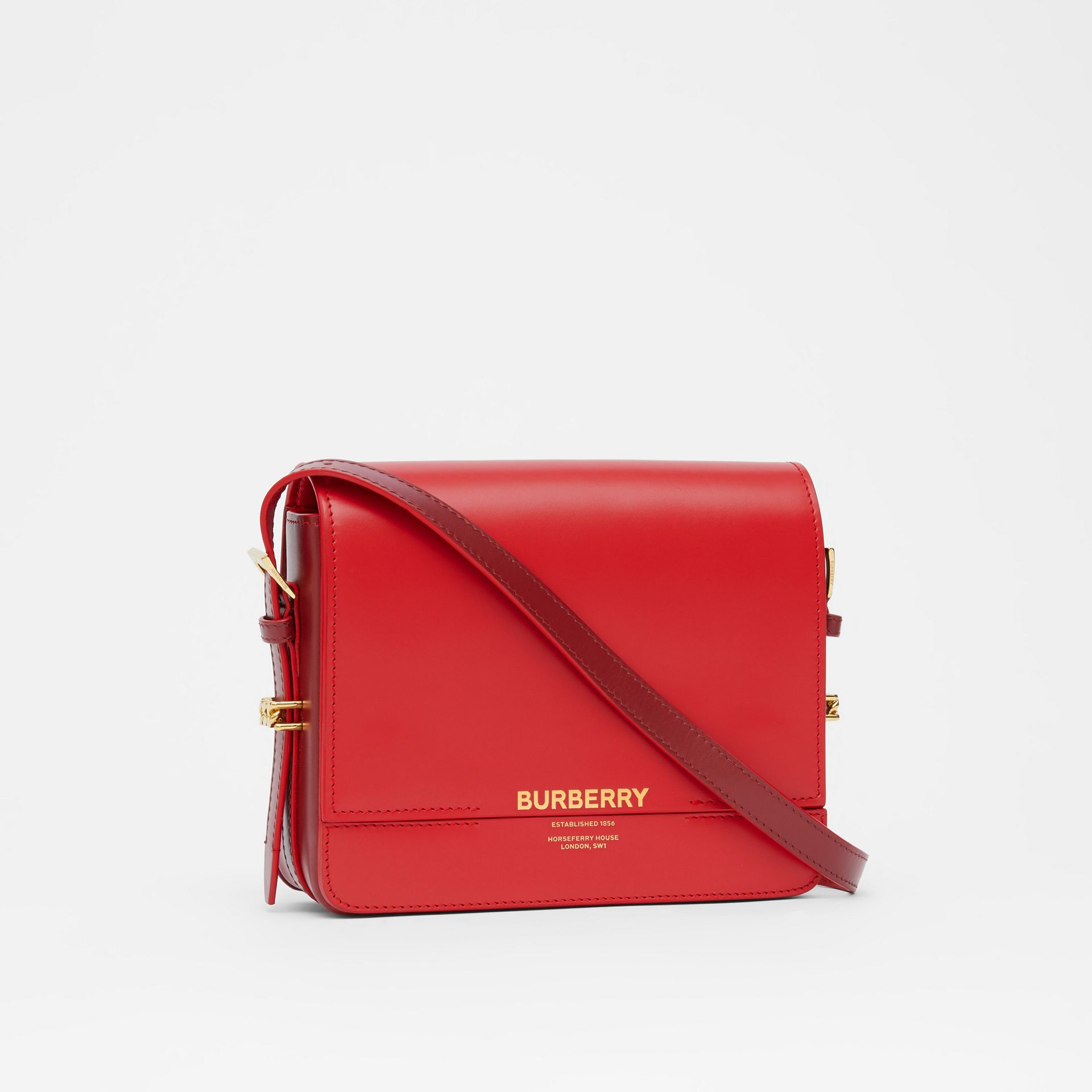 Small Two-tone Leather Grace Bag in Bright Red/burgundy - Women | Burberry - gallery image 6