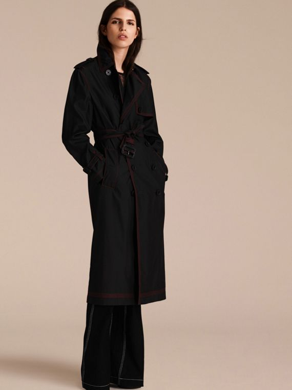 Black Lightweight Silk Wool Trench Coat - cell image 3