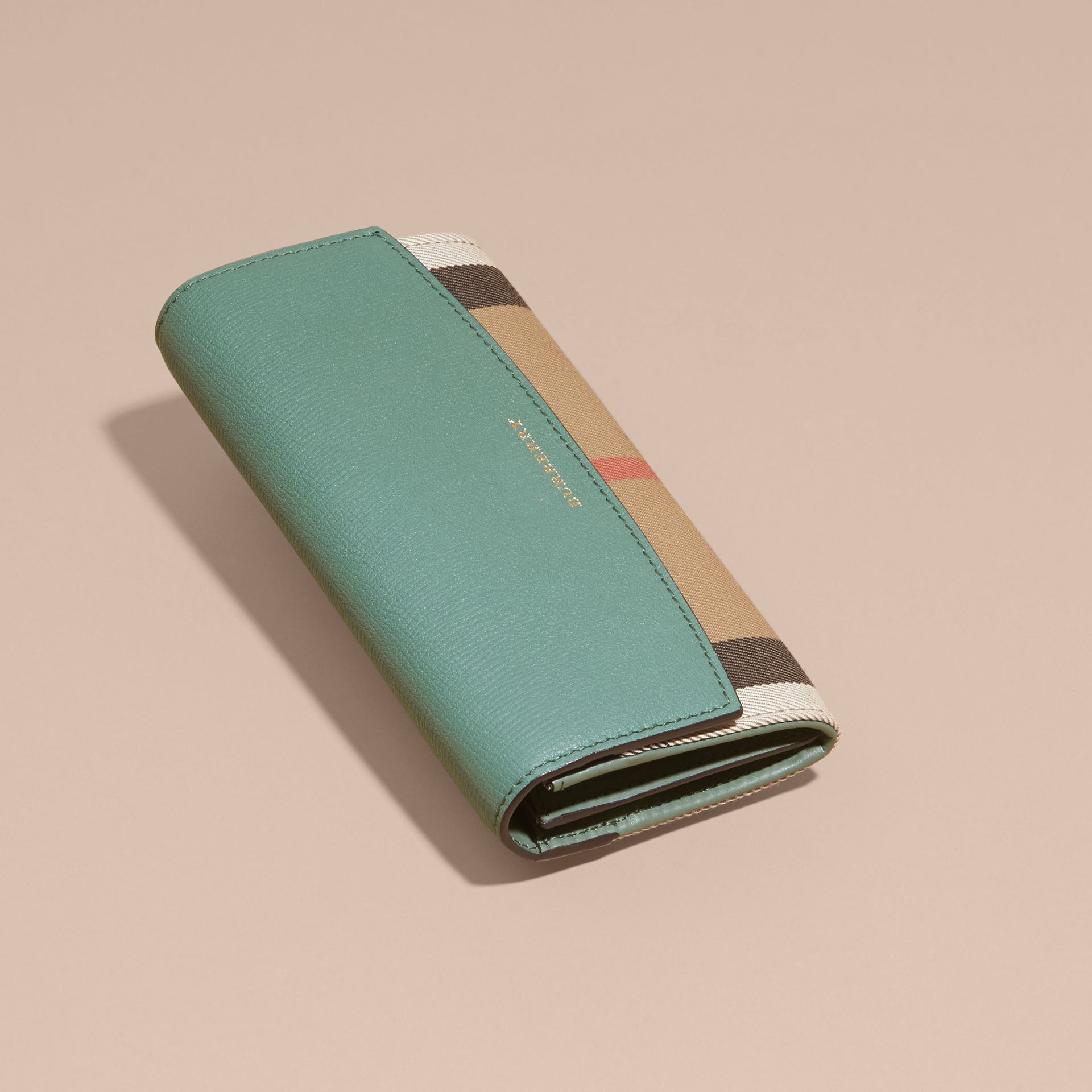 Smokey green House Check and Leather Continental Wallet Smokey Green - gallery image 6