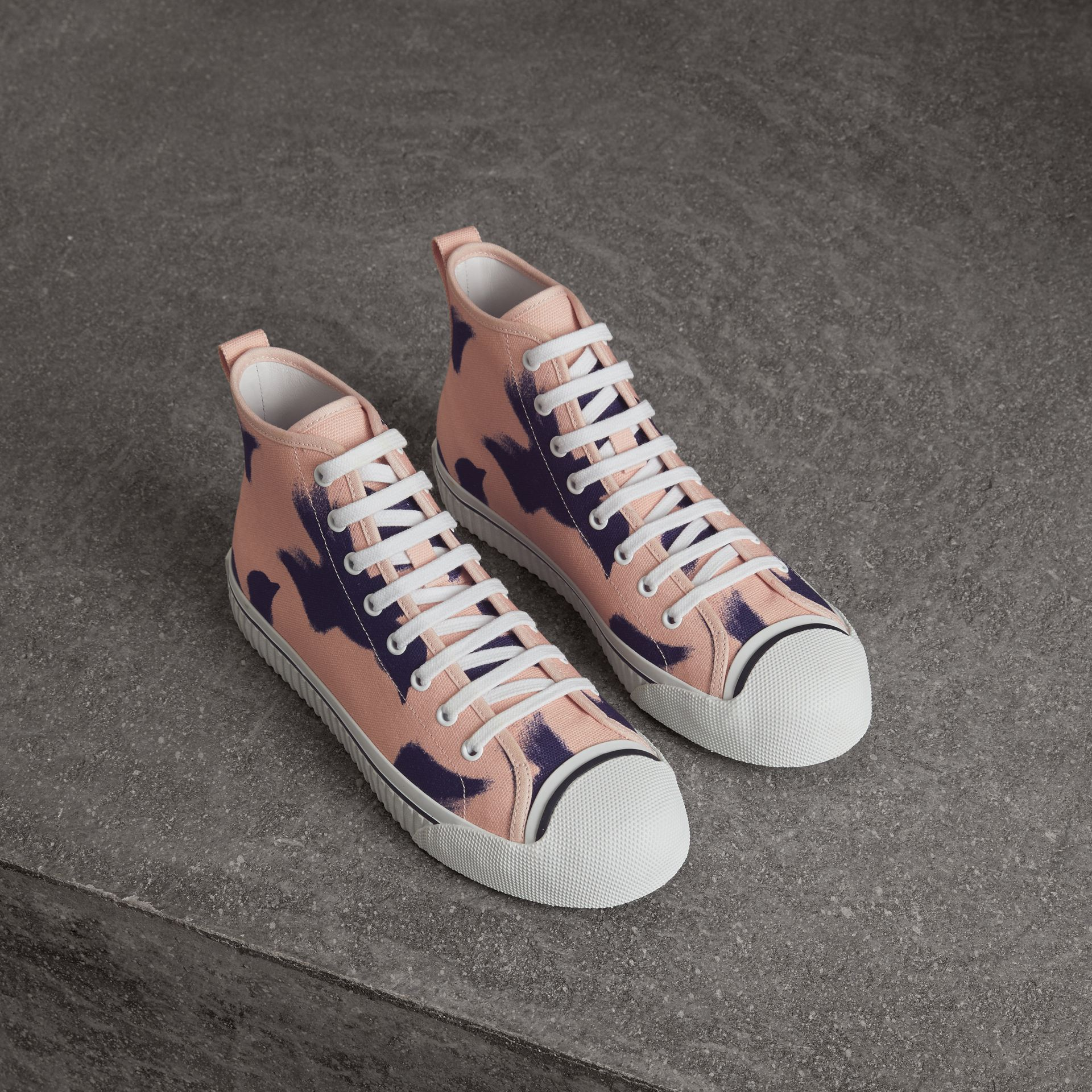 Bird Print Canvas High-top Sneakers in Apricot Pink - Men | Burberry - gallery image 0