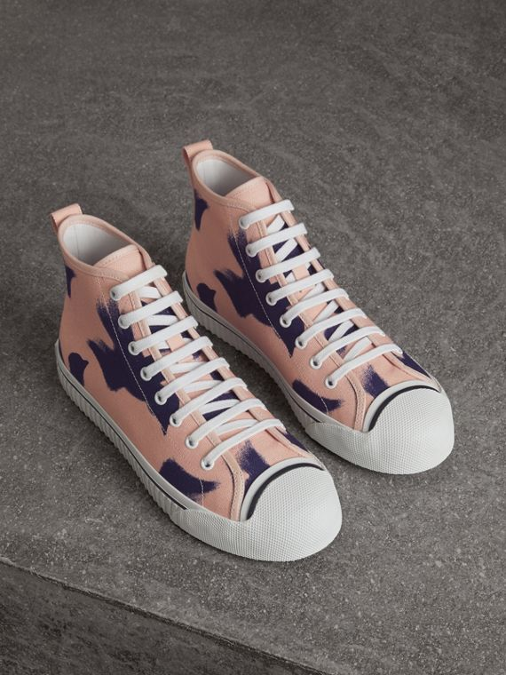 Bird Print Canvas High-top Sneakers in Apricot Pink