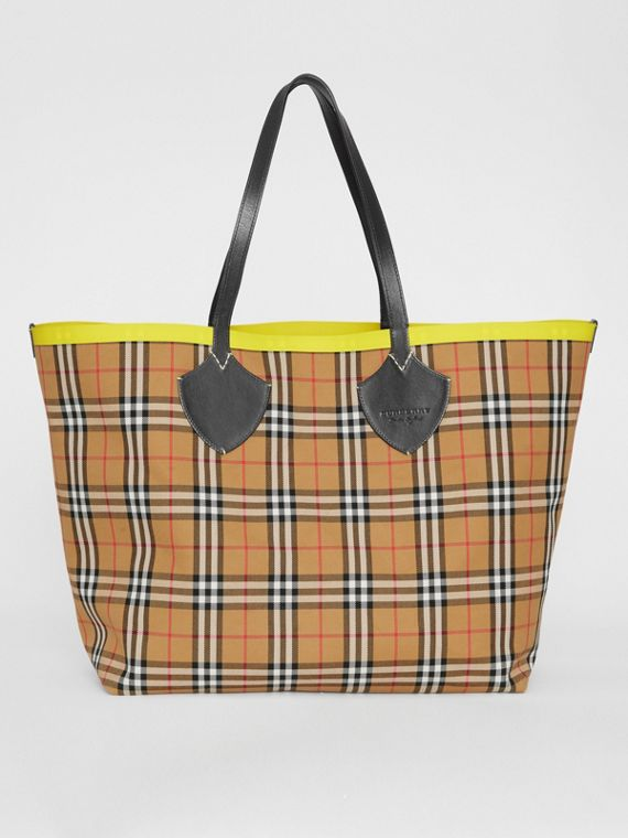 The Giant Reversible Tote in Vintage Check and Leather in Mahogany Red/antique Yellow