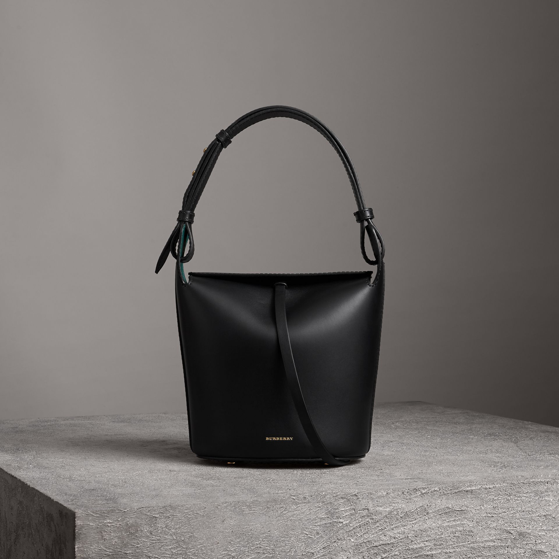 The Small Leather Bucket Bag in Black - Women | Burberry - gallery image 0