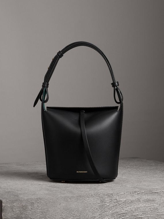 Borsa Burberry Bucket piccola in pelle (Nero)