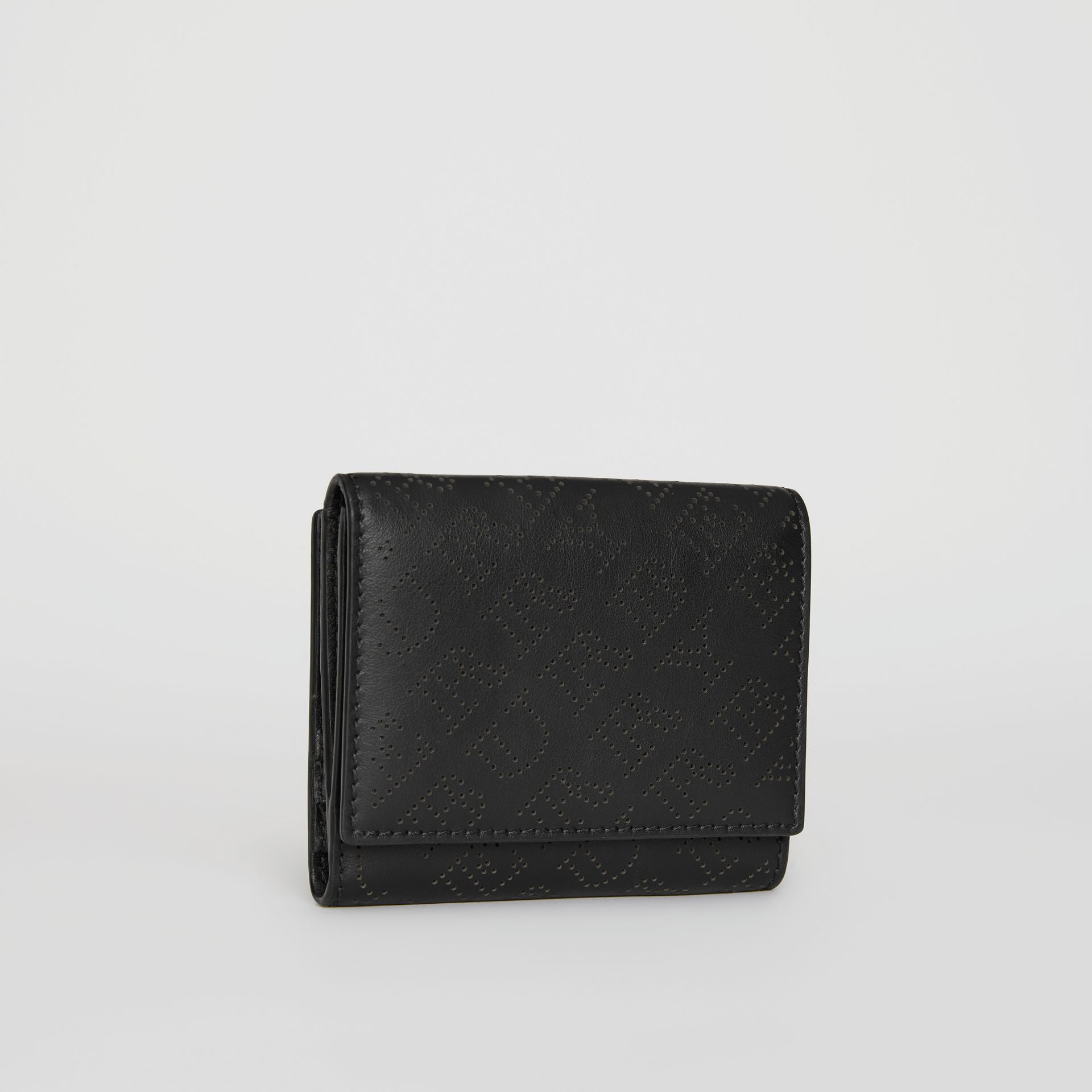 Small Perforated Logo Leather Wallet in Black - Women | Burberry - gallery image 4