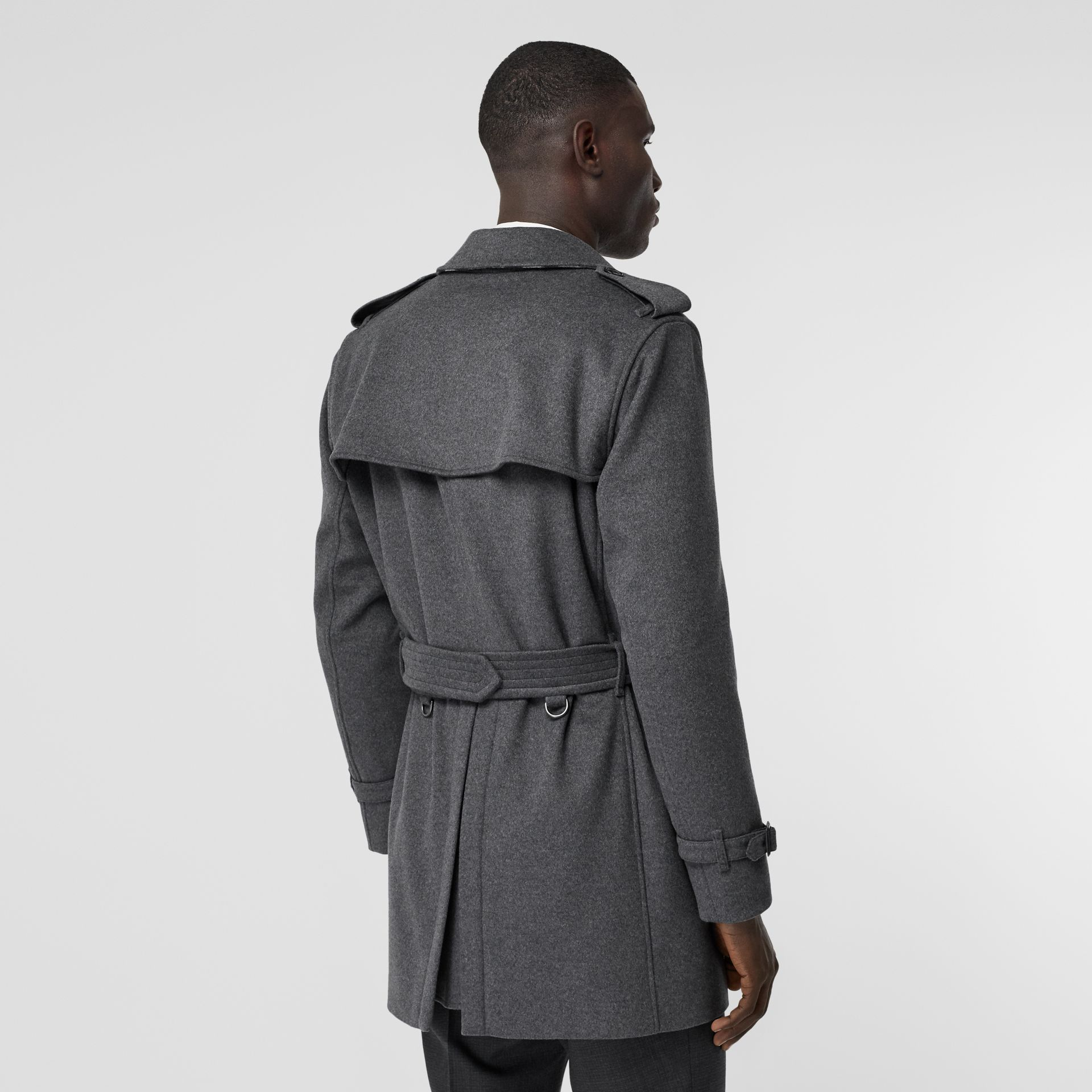 Wool Cashmere Trench Coat in Charcoal - Men | Burberry Hong Kong S.A.R - gallery image 2