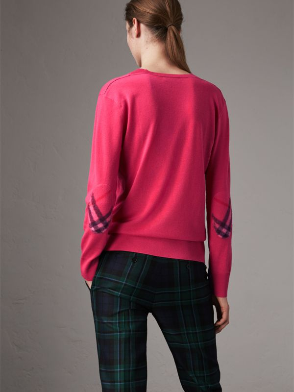 Check Detail Cashmere V-neck Sweater in Bright Pink - Women | Burberry - cell image 2