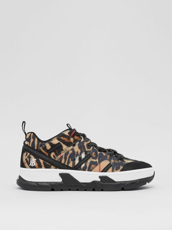 Leopard Print Neoprene and Cotton Union Sneakers in Archive Beige