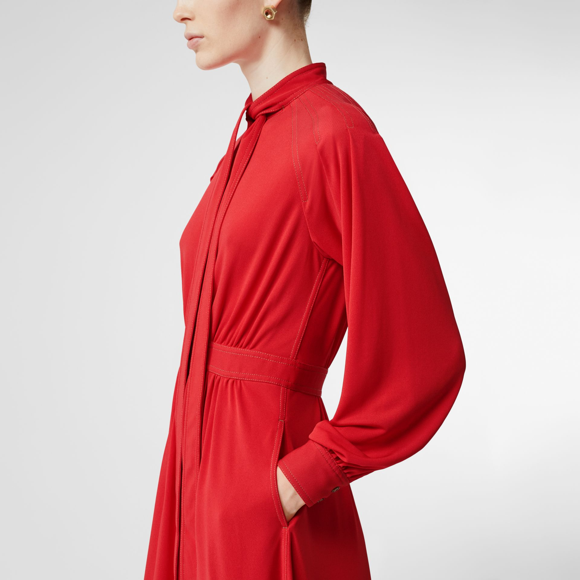 Topstitch Detail Jersey Tie-neck Dress in Bright Red - Women | Burberry - gallery image 1