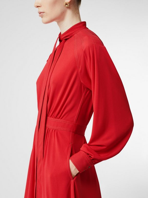 Topstitch Detail Jersey Tie-neck Dress in Bright Red - Women | Burberry Australia - cell image 1