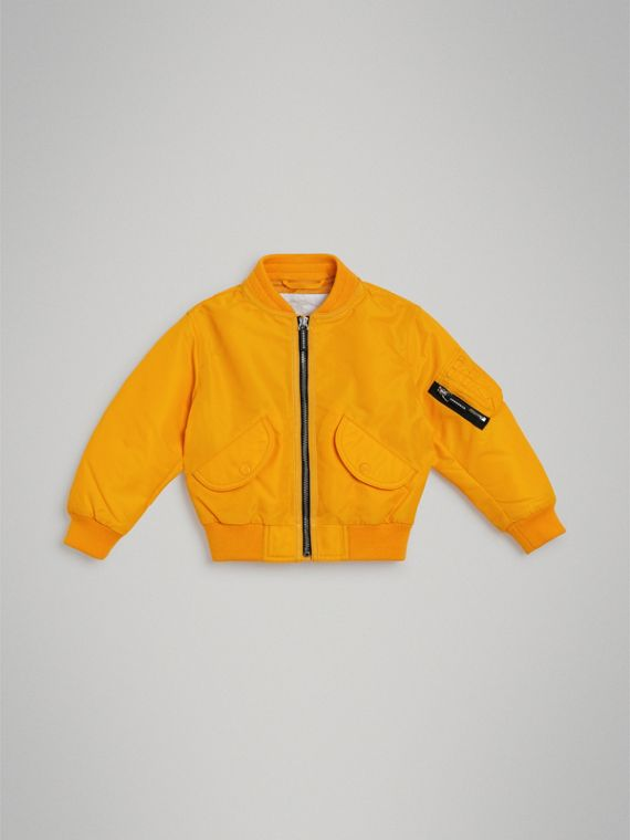 Lightweight Nylon Bomber Jacket in Bright Yellow
