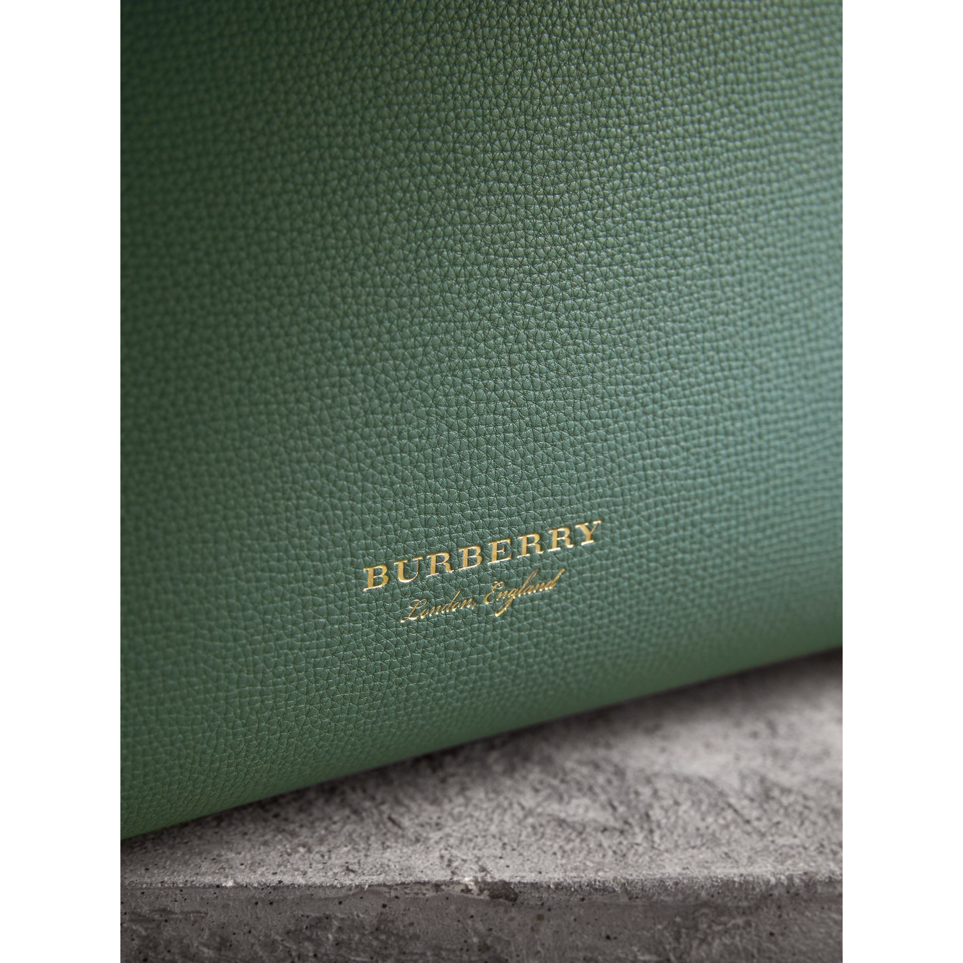 The Medium Banner in Leather with Tonal Appliqué in Celadon Blue - Women | Burberry Australia - gallery image 2