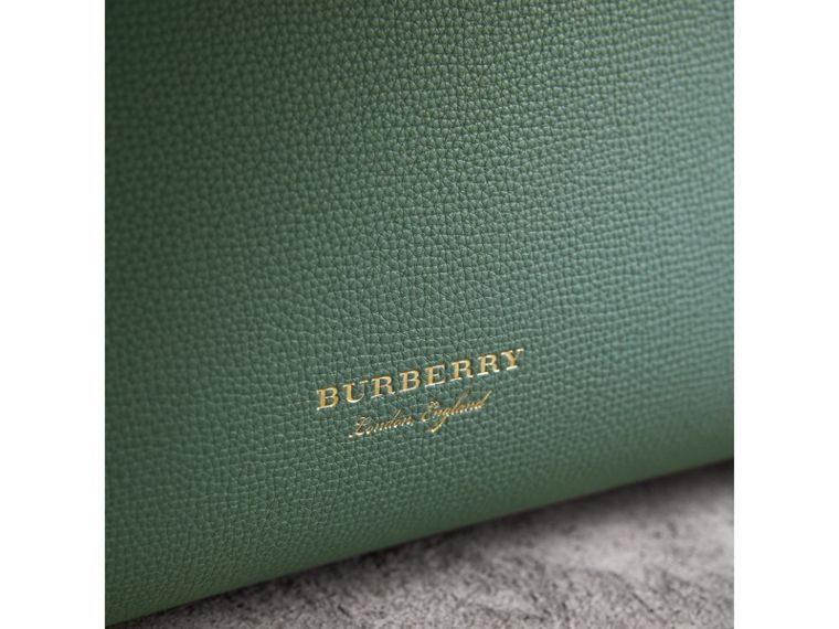The Medium Banner in Leather with Tonal Appliqué in Celadon Blue - Women | Burberry Australia - cell image 1