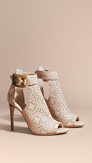 Laser-cut Lace Lambskin Peep-toe Ankle Boots