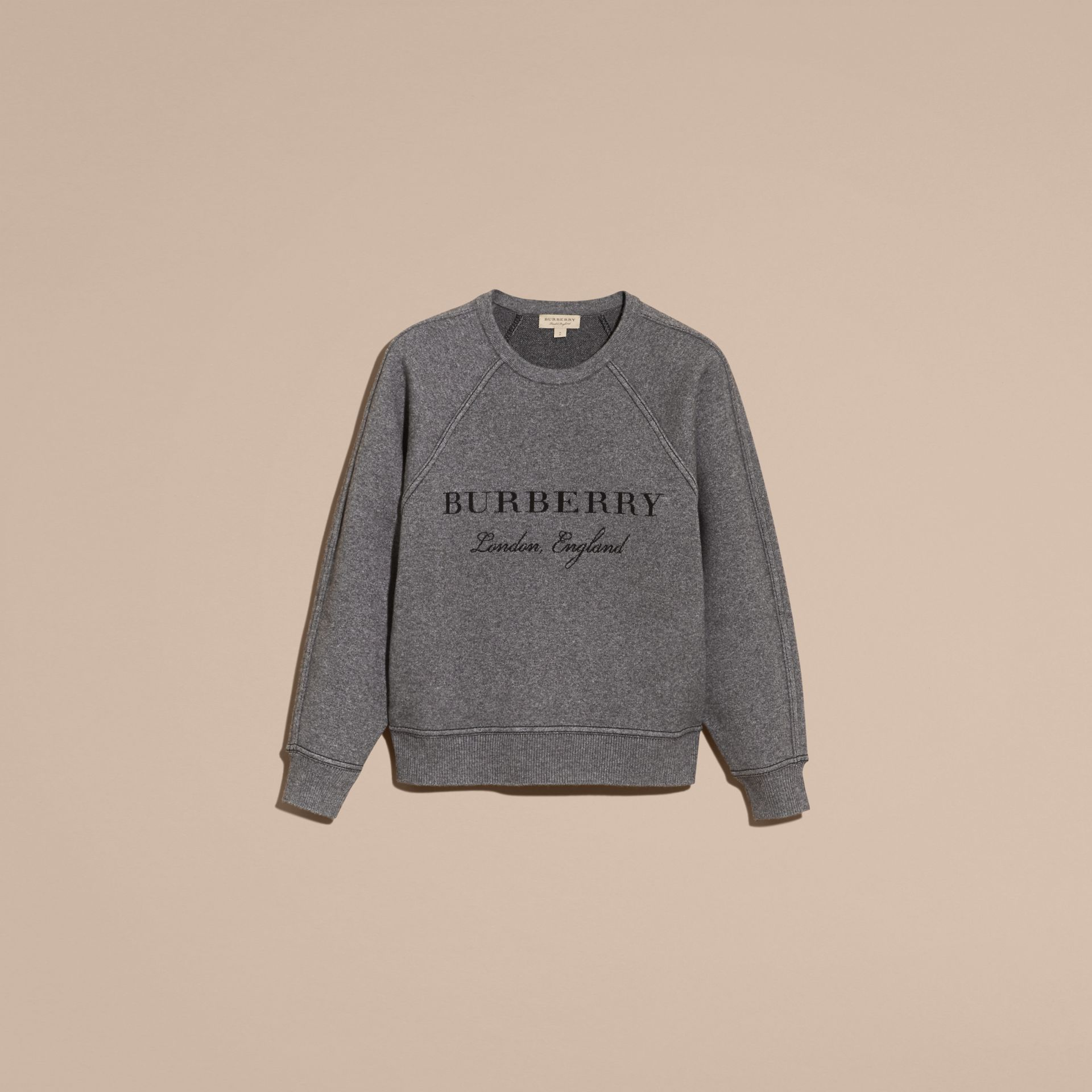 Topstitch Detail Wool Cashmere Blend Sweater in Mid Grey Melange - Women | Burberry - gallery image 4