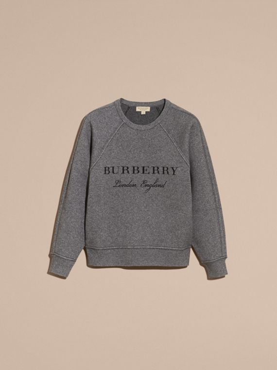 Topstitch Detail Wool Cashmere Blend Sweater in Mid Grey Melange - Women | Burberry Canada - cell image 3