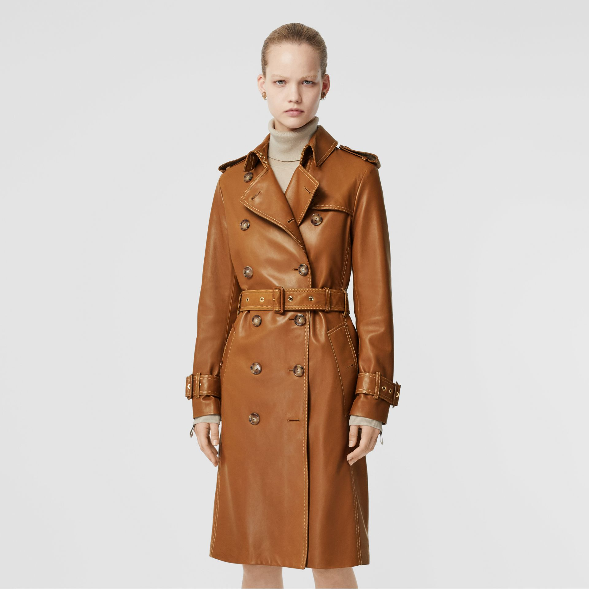Topstitch Detail Lambskin Trench Coat in Maple - Women | Burberry - gallery image 6