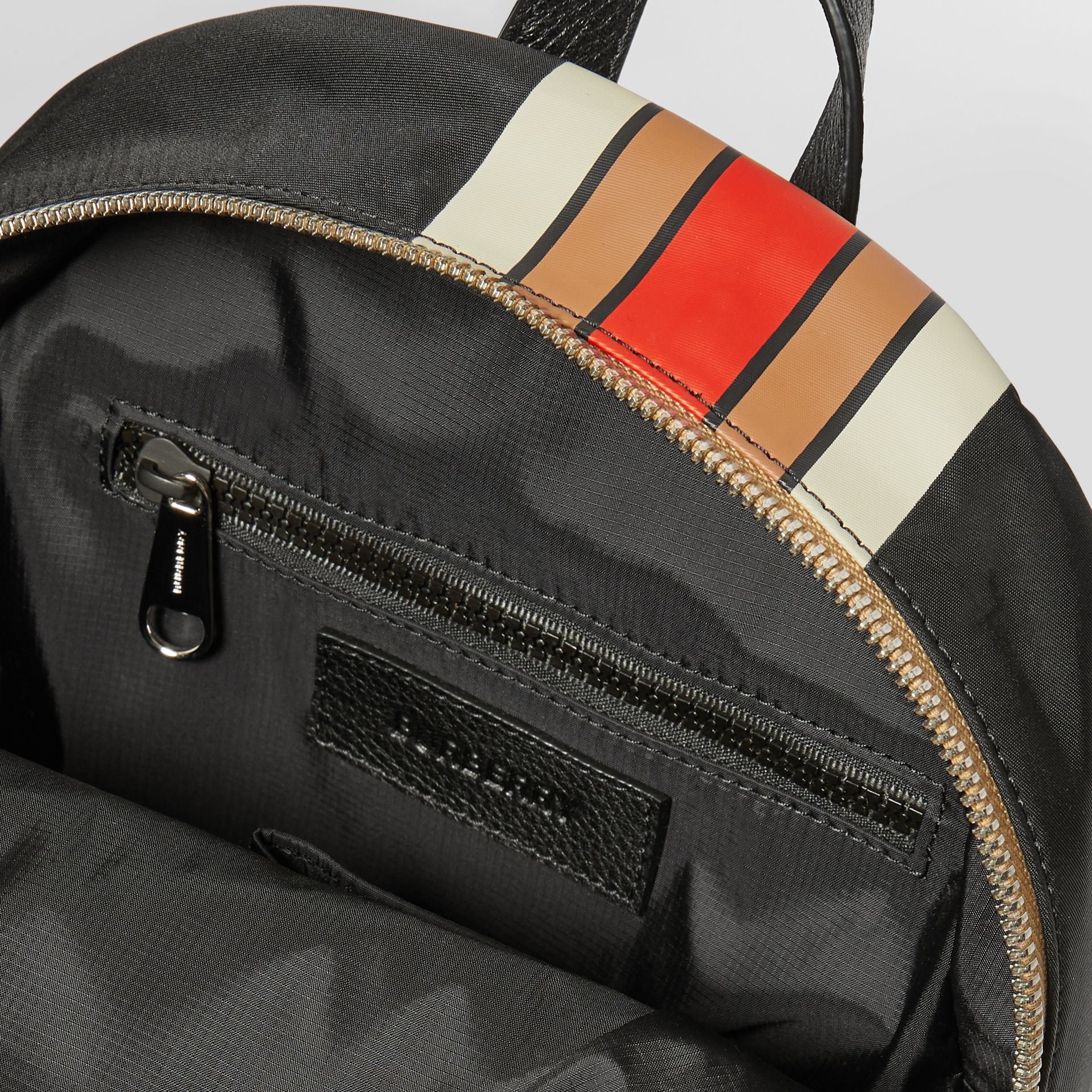 Logo Print Striped ECONYL® Backpack in Archive Beige - Children | Burberry United Kingdom - gallery image 3