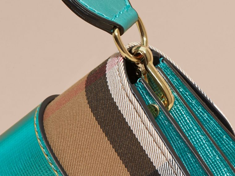 The Small Buckle Bag in House Check and Leather Emerald - cell image 1