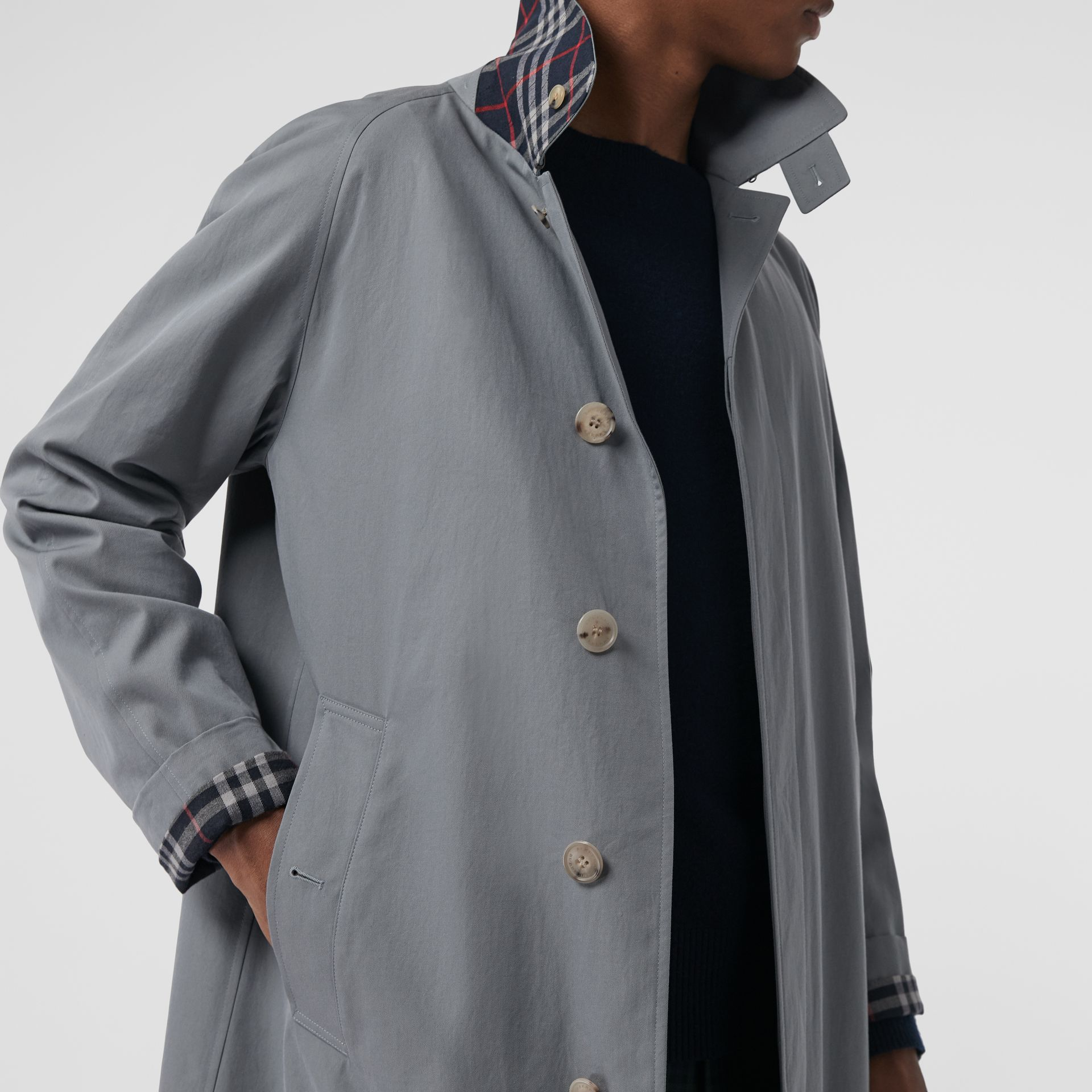 Archive Logo-lined Tropical Gabardine Car Coat in Dusty Blue - Men | Burberry - gallery image 4