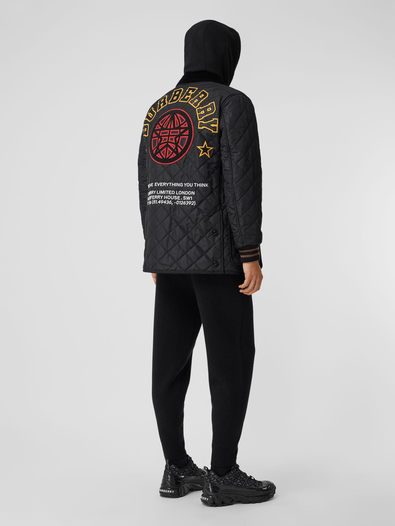 Varsity Graphic Diamond Quilted Barn Jacket in Black