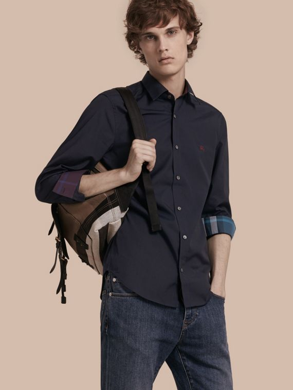 Check Detail Stretch Cotton Shirt Navy