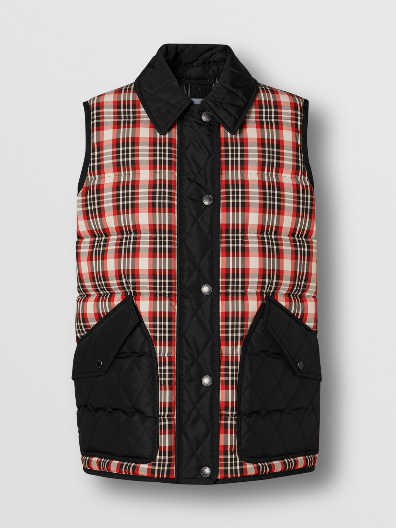 Diamond Quilted Panel Tartan Puffer Gilet in Bright Red