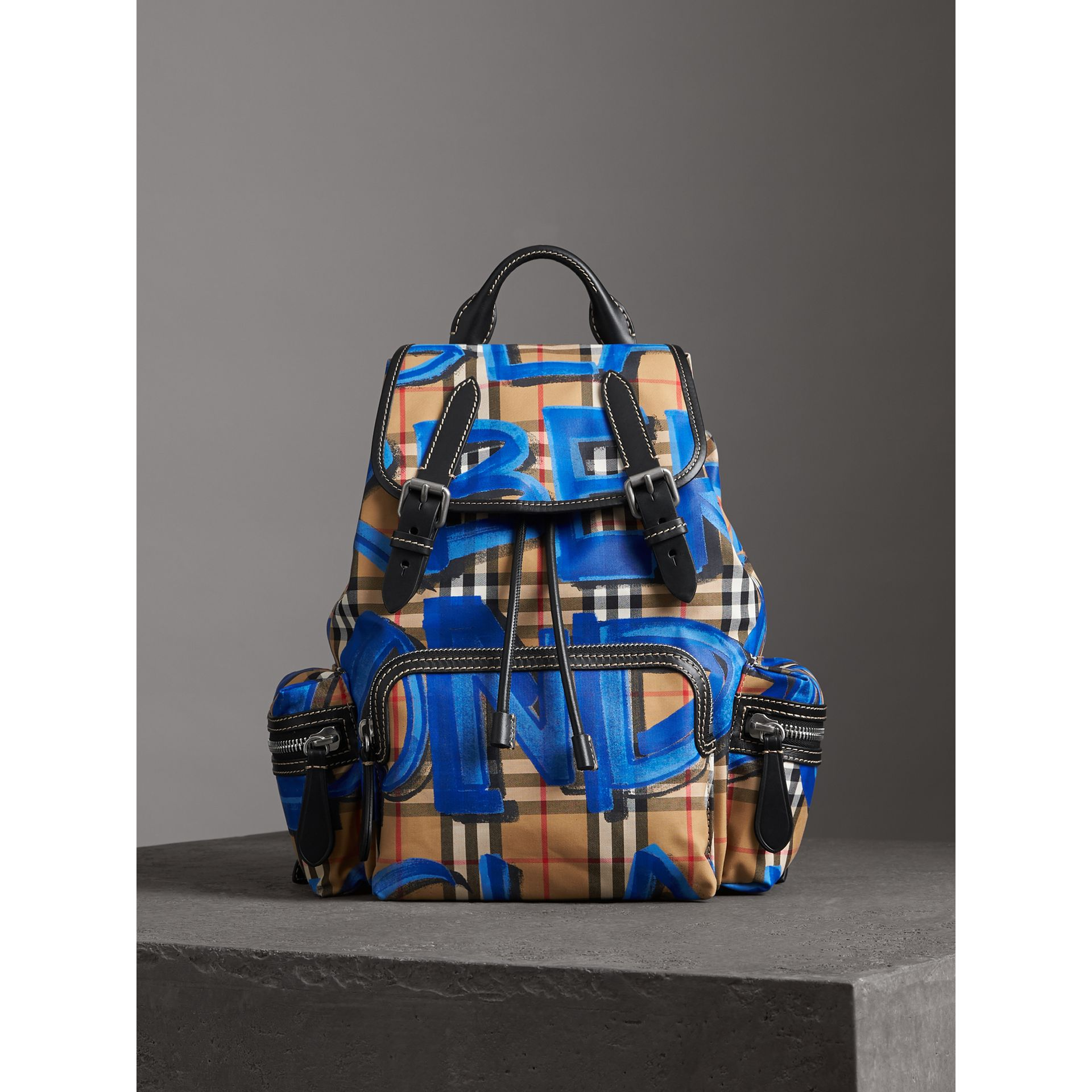 The Medium Rucksack in Graffiti Print Vintage Check in Black - Women | Burberry Australia - gallery image 4