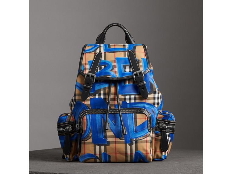 The Medium Rucksack in Graffiti Print Vintage Check in Black - Women | Burberry United States - cell image 4