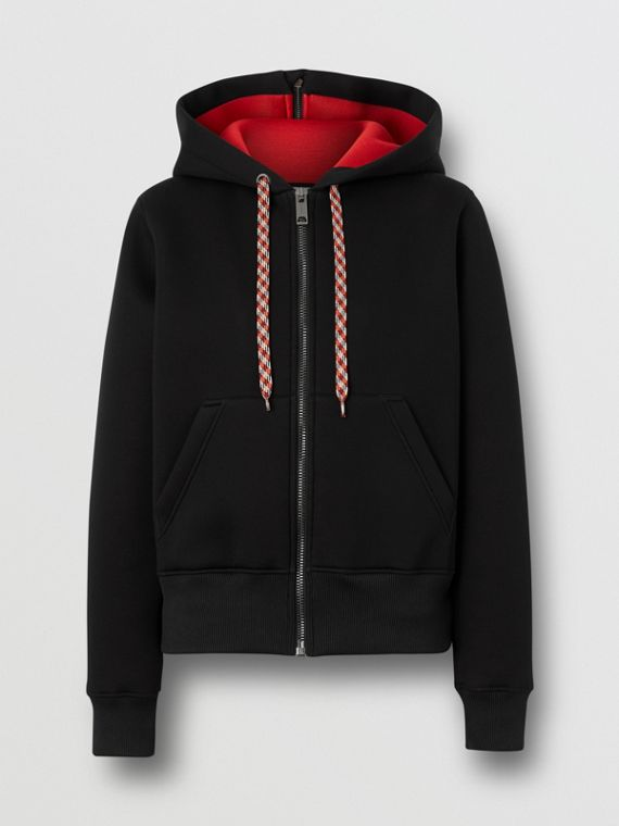 Logo Appliqué Neoprene Hooded Top in Black