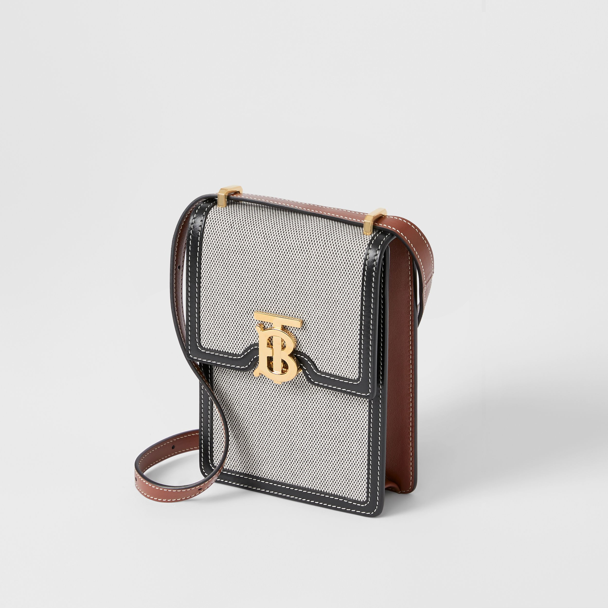 Cotton Canvas and Two-tone Leather Robin Bag in Black/tan - Women | Burberry Hong Kong S.A.R. - 4