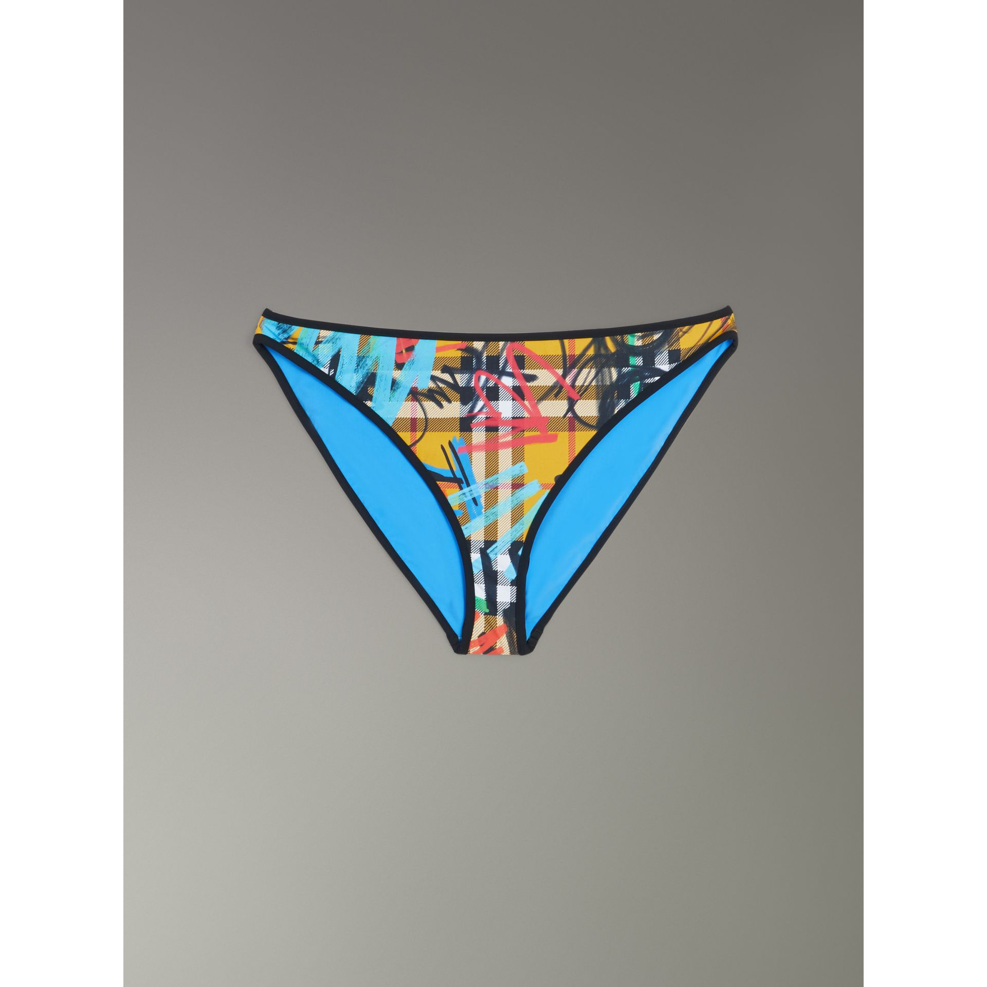 Graffiti Print Vintage Check Bikini in Amber Yellow - Women | Burberry United States - gallery image 2