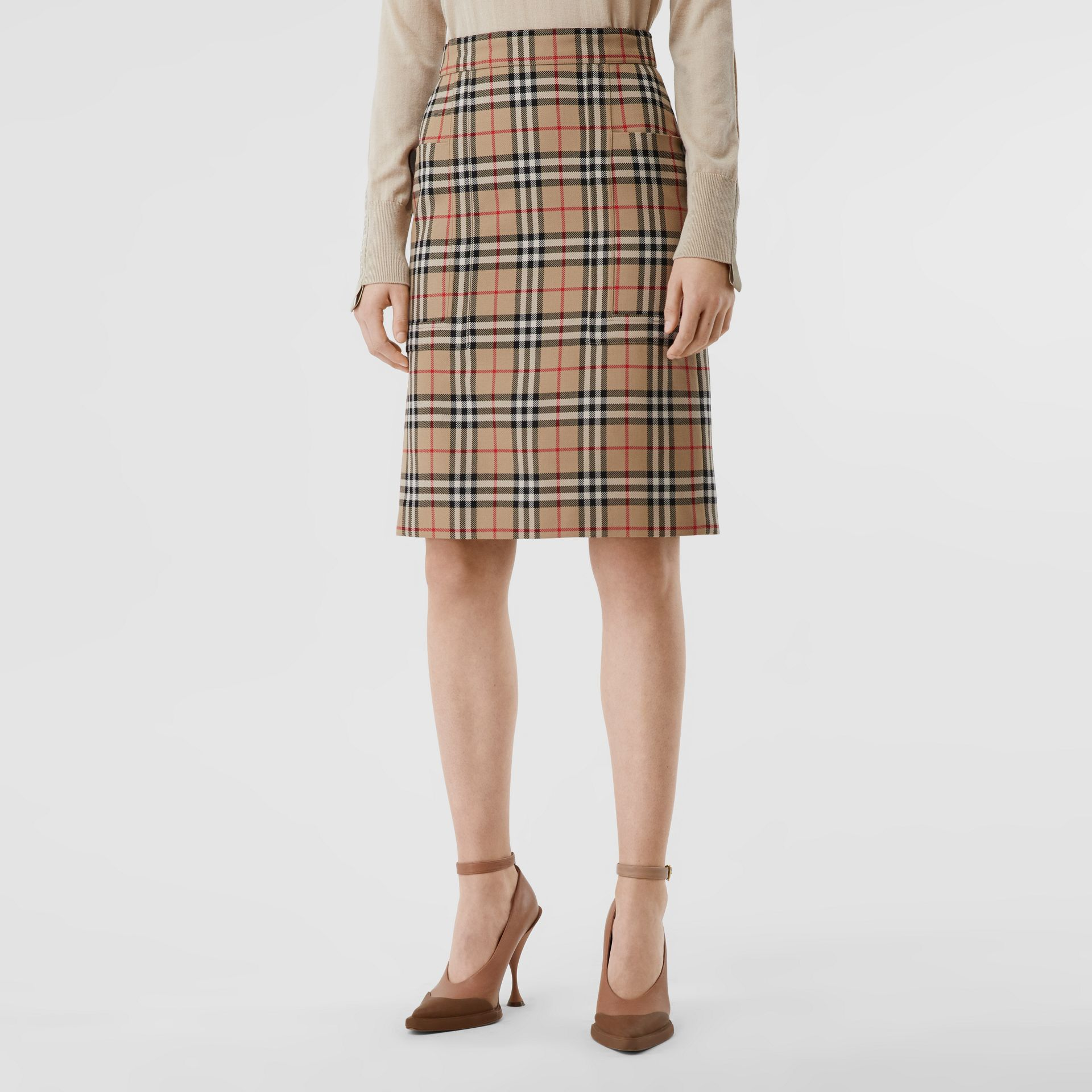 Pocket Detail Vintage Check Wool Pencil Skirt in Archive Beige - Women | Burberry - gallery image 4