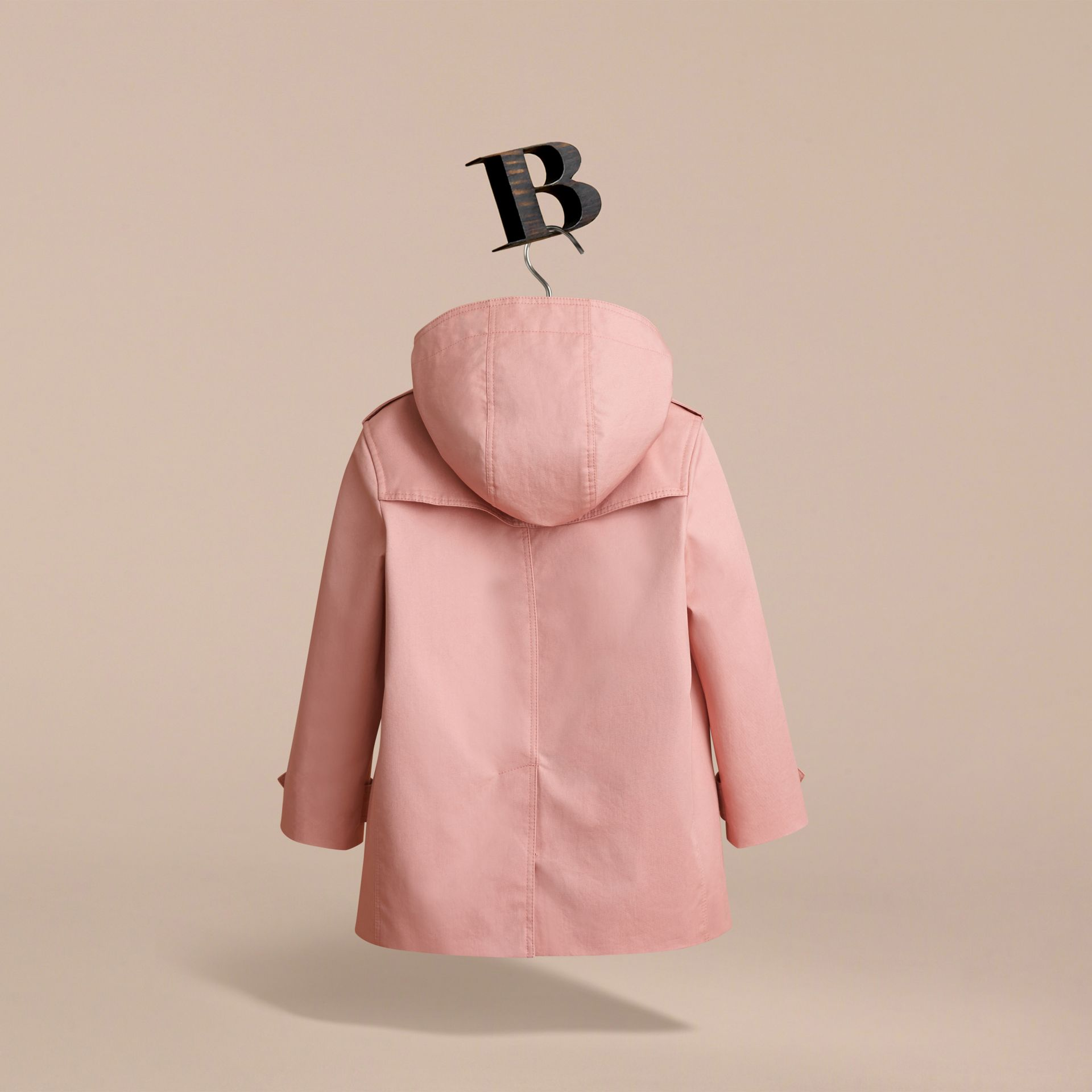 Detachable Hood Cotton Trench Coat in Pale Rose - Girl | Burberry - gallery image 4