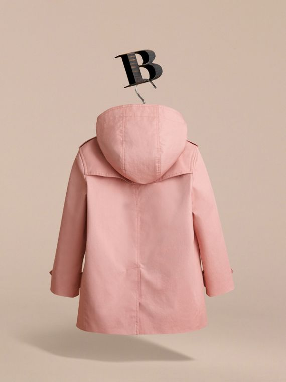 Detachable Hood Cotton Trench Coat in Pale Rose - Girl | Burberry - cell image 3